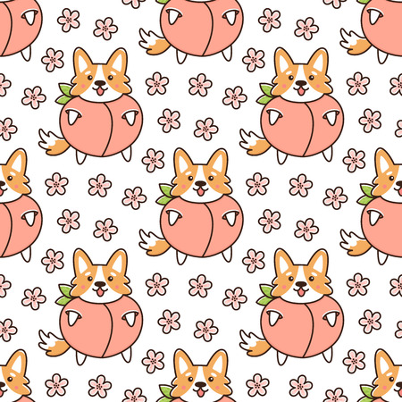 Seamless pattern with dog welsh corgi, in peach, with flowers on a white background. It can be used for packaging, wrapping paper, textile and etc.