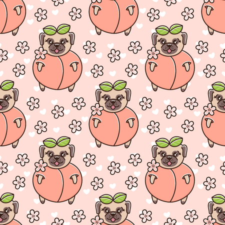 Cute seamless pattern with dog breed pug in peach, with flowers and heart on a pink background. It can be used for packaging, wrapping paper, textile and etc. Standard-Bild - 117198867