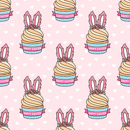 Seamless pattern with cupcake with bunny ears for Happy Easter, on a pink background with white heart. It can be used for packaging, wrapping paper, textile and etc. Ilustracja