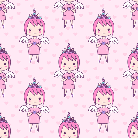 Seamless pattern with girl in a hairband unicorn with flowers, with wings and a heart in her hands, on a pink background. It can be used for packaging, wrapping paper, textile and etc.