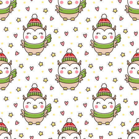 Seamless pattern with cute winter owl in a hat and scarf with stars and hearts. It can be used for packaging, wrapping paper, textile and etc.