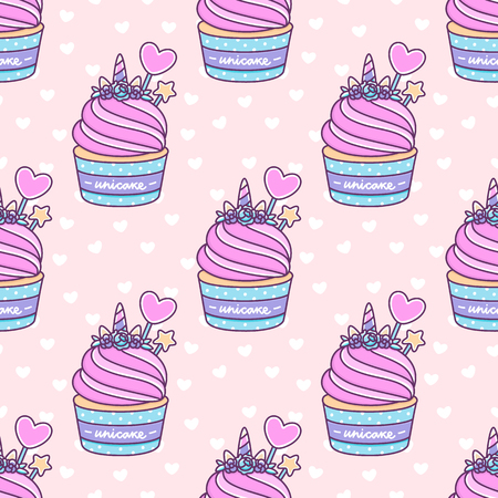 Seamless pattern with cute unicorn cupcake on a pink background with white heart. Unicake its funny wordplay Unicorn and Cake. It can be used for packaging, wrapping paper, textile and etc. Illustration