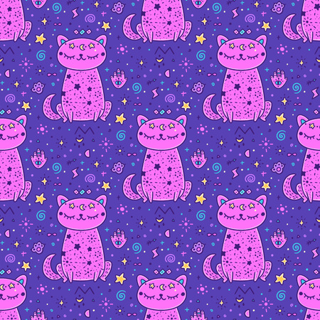 Mistical starry seamless pattern with cat and mistical element. It can be used for packaging, wrapping paper, textile, notebook, mug, invitation card, etc.