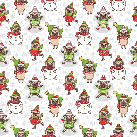 Winter seamless pattern with dogs breed pug. Dogs play games: sculpt snowman, skate, make a snow angel, carries a Christmas tree. It can be used for packaging, wrapping paper, textile and etc.