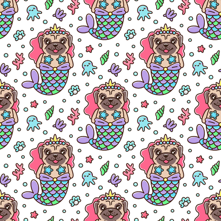 Seamless pattern with dog pug in a mermaid costume. With tail of a mermaid, crown, pearl, shell, coral, octopus and starfish. It can be used for packaging, wrapping paper, textile and etc. Excellent print for children's clothes, bed linens, etc. Standard-Bild - 117198921