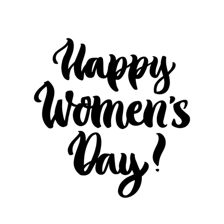 The hand-drawing quote: Happy Womens Day! in a trendy calligraphic style. It can be used for greeting card, mug, brochures, poster etc. Ilustracja