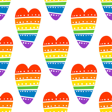 Seamless pattern with Rainbow heart, on a white background. Excellent design for packaging, wrapping paper, textile, clothes and etc. Stock Vector - 121910787