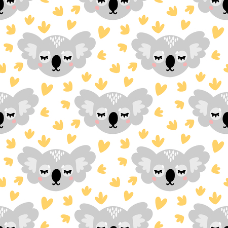 Seamless pattern with cute koala face, on a white background. Excellent design for packaging, wrapping paper, textile, clothes and etc. Ilustração
