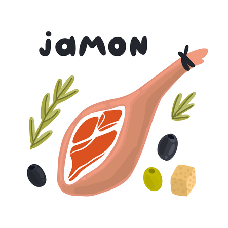 Jamon - traditional Spanish delicacy, dry pork ham. Jamon, сheese, rosemary, and olives on a white background. Excellent design for menu, brochures, poster, card etc.