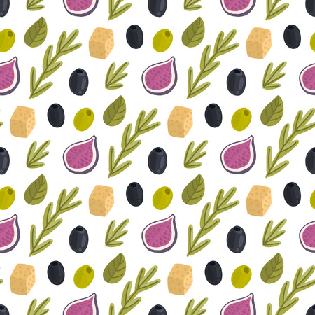 Seamless pattern with figs, cheese, rosemary, herbs and olives on a white background. Excellent design for packaging, wrapping paper, textile, clothes and etc.