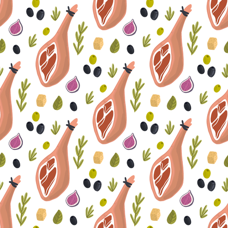 Seamless pattern with Jamon (traditional Spanish delicacy), figs, cheese, rosemary, herbs and olives on a white background. Excellent design for menu, brochures, poster, packaging, wrapping paper etc.