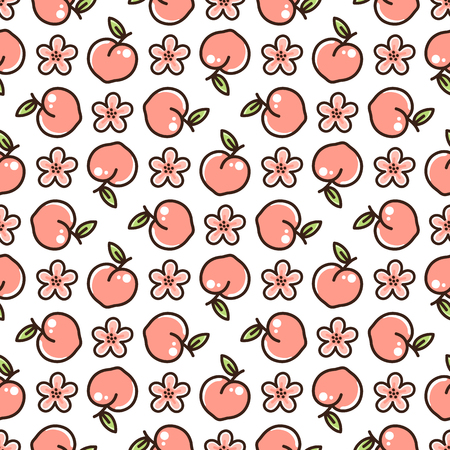 Cute pattern with peach and flowers on a white background. It can be used for packaging, wrapping paper, textile and etc.