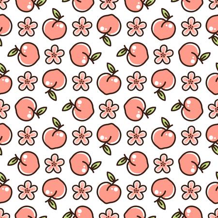 Niedliches Muster mit Pfirsich und Blumen auf weißem Hintergrund. Es kann für Verpackungen, Geschenkpapier, Textilien usw. verwendet werden.