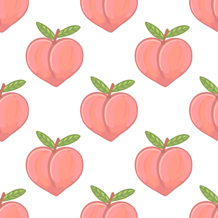 Cute pattern with peach on a white background. It can be used for packaging, wrapping paper, textile etc.