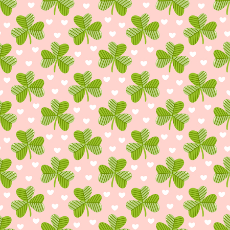Seamless pattern with clover on a pink background with hearts, for St. Patrick's Day. Excellent design for packaging, wrapping paper, textile, clothes and etc. Banque d'images - 124665811