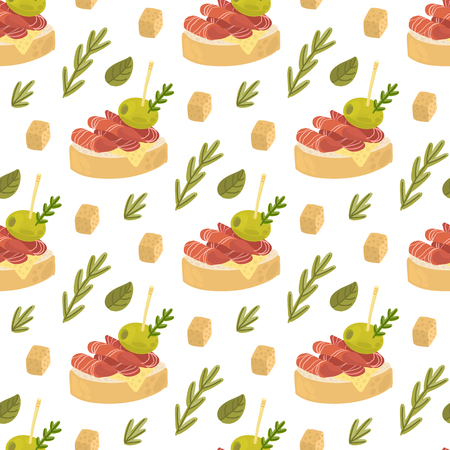 Seamless pattern with Tapas - traditional Spanish snack, with cheese, rosemary, jamon and olive on a white background. Excellent design for menu, brochures, poster, packaging, wrapping paper etc. 向量圖像