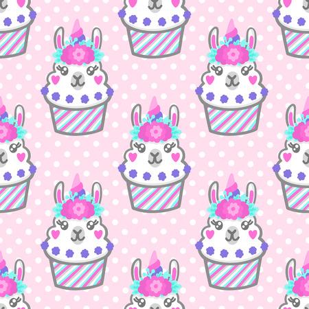 Nahtloses Muster mit Lama Cupcake mit Blumenkranz und Horn wie Einhorn. Ausgezeichnetes Design für Verpackungen, Geschenkpapier, Textilien, Kleidung usw.