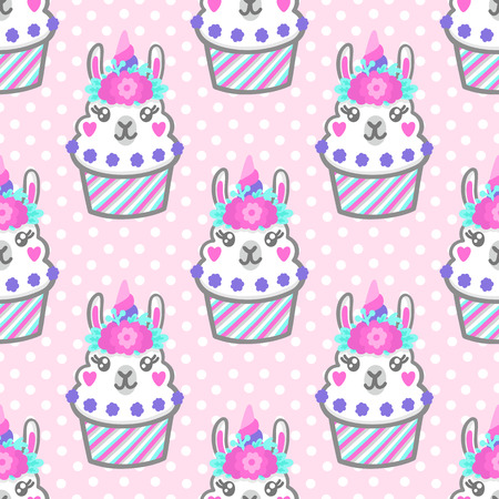 Seamless pattern with llama cupcake with floral wreath and horn like unicorn. Excellent design for packaging, wrapping paper, textile, clothes and etc.