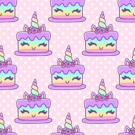 Seamless pattern with unicorn cake, on pink polka dot background. Excellent design for packaging, wrapping paper, textile, clothes etc.