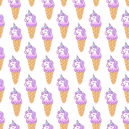 Seamless pattern with unicorn ice cream, on a white background. Excellent design for packaging, wrapping paper, textile, clothes etc. Illusztráció