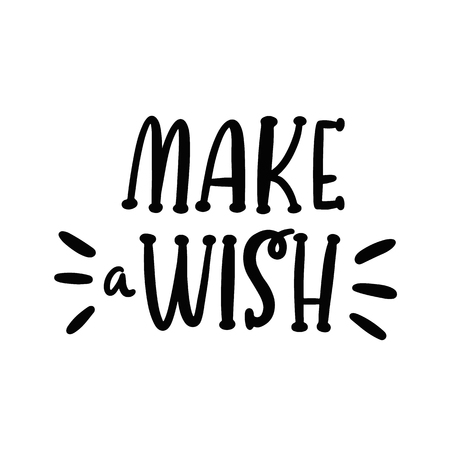 Handwritten lettering phrase: Make a wish. It can be used for card, brochures, poster, flyer, t-shirt, promotional materials. Standard-Bild - 129770043