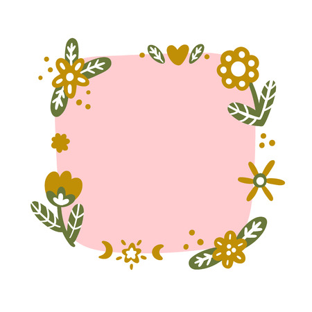 Frame of flowers and ornaments in the Scandinavian style. It can be used for card, mug, brochures, poster etc.