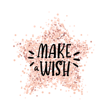 Handwritten lettering phrase: Make a wish, on a pink gold glitter star. It can be used for card, brochures, poster, flyer, t-shirt, promotional materials. Standard-Bild - 129770068