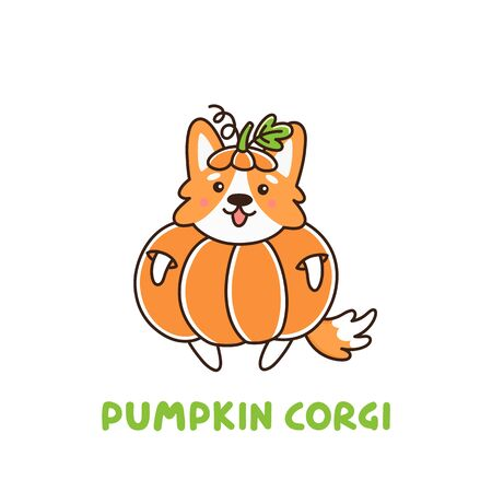 Cute dog breed welsh corgi in a holiday costume pumpkin. It can be used for sticker, patch, card, phone case, poster, t-shirt, mug etc.
