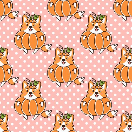 Seamless pattern with dog welsh corgi, in pumpkin, on a pink background with white dots. Excellent design for packaging, wrapping paper, textile, clothes and etc. Illustration