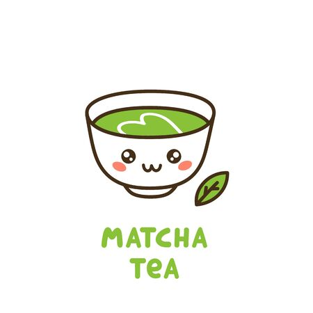 Cute cup of tea matcha. Matcha - Japanese powdered green tea. It can be used for card, poster, brochures and other promotional materials.