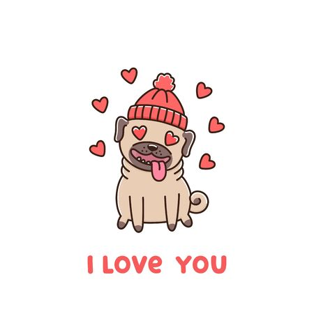 Ð¡ute dog breed pug in hat, in love. The inscription: I love you! Excellent design for Valentines day card, sticker, patch, poster, t-shirt, mug and other design.