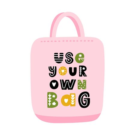 Сanvas bag with eco-friendly lettering: Use your own bag, with floral elements, in Scandinavian style. It can be used for cards, brochures, poster and other promotional materials.