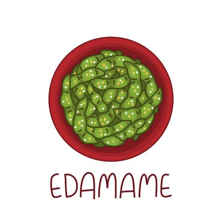 Edamame beans - Japanese snack, boiled soy pods, with sesame and salt. It can be used for menu, banner, poster and other marketing materials. Vector Image.