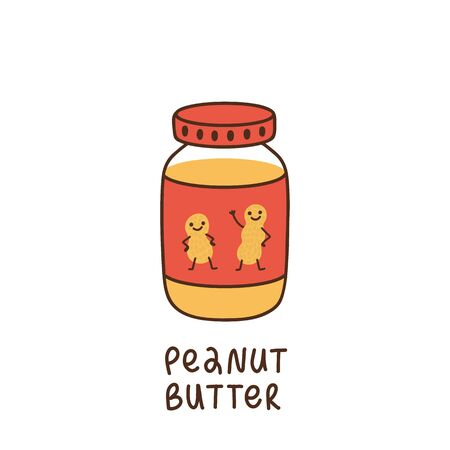 Jar of peanut butter, on the label drawn cute characters dancing peanut. It can be used for menu, banner, poster and other marketing materials. Vector Image.  Illustration