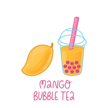 Bubble tea with tapioca pearls and mango fruit isolated on a white background.