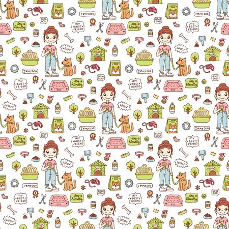 Seamless pattern with girl and dog, with accessories for dogs, on white background. Excellent design for packaging, wrapping paper, textile etc. Ilustracja