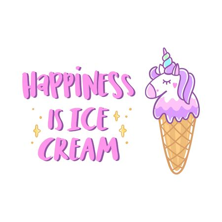 Unicorn ice cream with stars and funny quote: Happiness is ice cream, on white background. It can be used for menu, banner, poster and other marketing materials. Vector Image.  Illustration