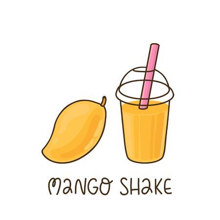Mango shake and mango fruit isolated on white background. Ilustracja