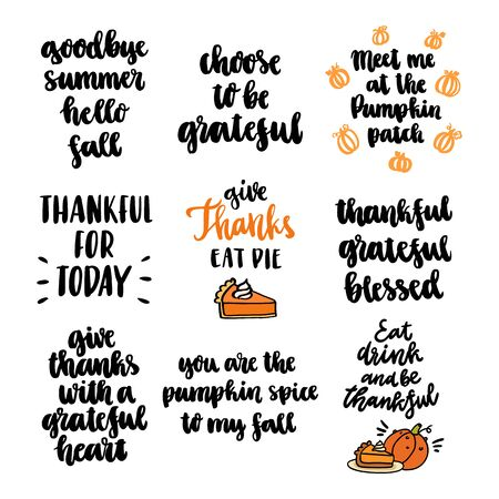 Set of 9 autumn inscriptions, for Thanksgiving, autumn festivals, harvest. It can be used for a invitation card, brochures, poster and other promo materials.