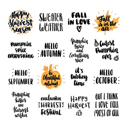 Set of 16 autumn inscriptions, for Thanksgiving, autumn festivals, harvest. It can be used for a invitation card, brochures, poster and other promo materials.