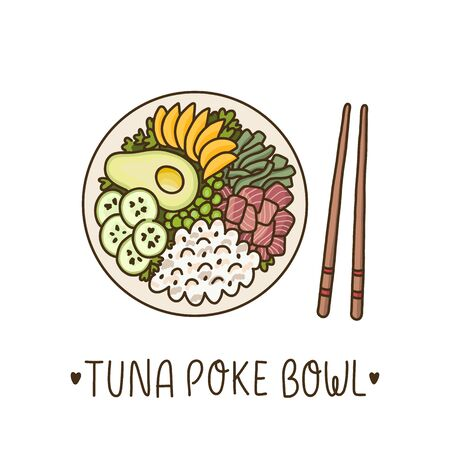 Tonijn poke bowl - Hawaiiaans gerecht, rijst met ahi tonijn, avocado, mango, komkommer en zeewier. Het kan worden gebruikt voor menu's, banners, posters en ander marketingmateriaal.