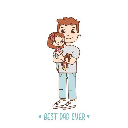 Young father with daughter. Text: Best Dad Ever. It can be used for a invitation card, brochures, poster and other materials. Illustration