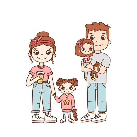 Young family, mom dad and two daughters. It can be used for a invitation card, brochures, poster and other materials.