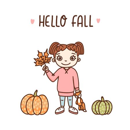 Girl with a maple leaf, colorful pumpkins and inscription: Hello Fall. It can be used for a invitation card, brochures, poster and other promo materials.