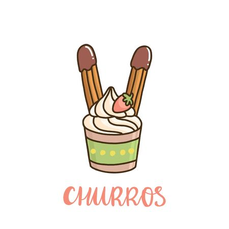 Ice cream with churros and strawberries. Churros (or churro) is a traditional Spanish dessert. It can be used for menu, sign, banner, poster, etc. Illusztráció