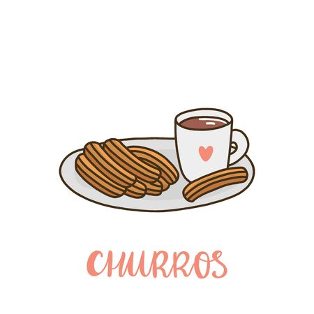 Churros with a mug of hot chocolate. Churros (or churro) is a traditional Spanish dessert. It can be used for menu, sign, banner, poster, etc.