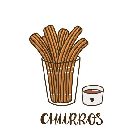 Churros with chocolate. Churros (or churro) is a traditional Spanish dessert. It can be used for menu, sign, banner, poster, etc.