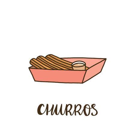 Churros with caramel in a box. Churros (or churro) is a traditional Spanish dessert. It can be used for menu, sign, banner, poster, etc.