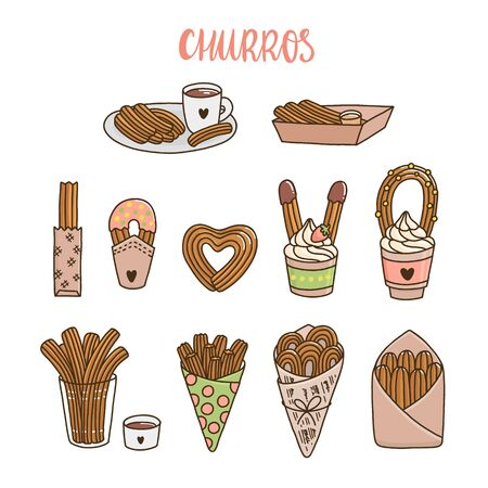 Set of churros, different ways of cooking and serving churros. Churros (or churro) is a traditional Spanish dessert. It can be used for menu, sign, banner, poster, etc.