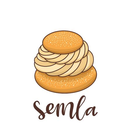 Semla (Samlor) is a traditional sweet bun from Scandinavia and the Baltic countries. It can be used for menu, sign, banner, poster, etc. Ilustrace